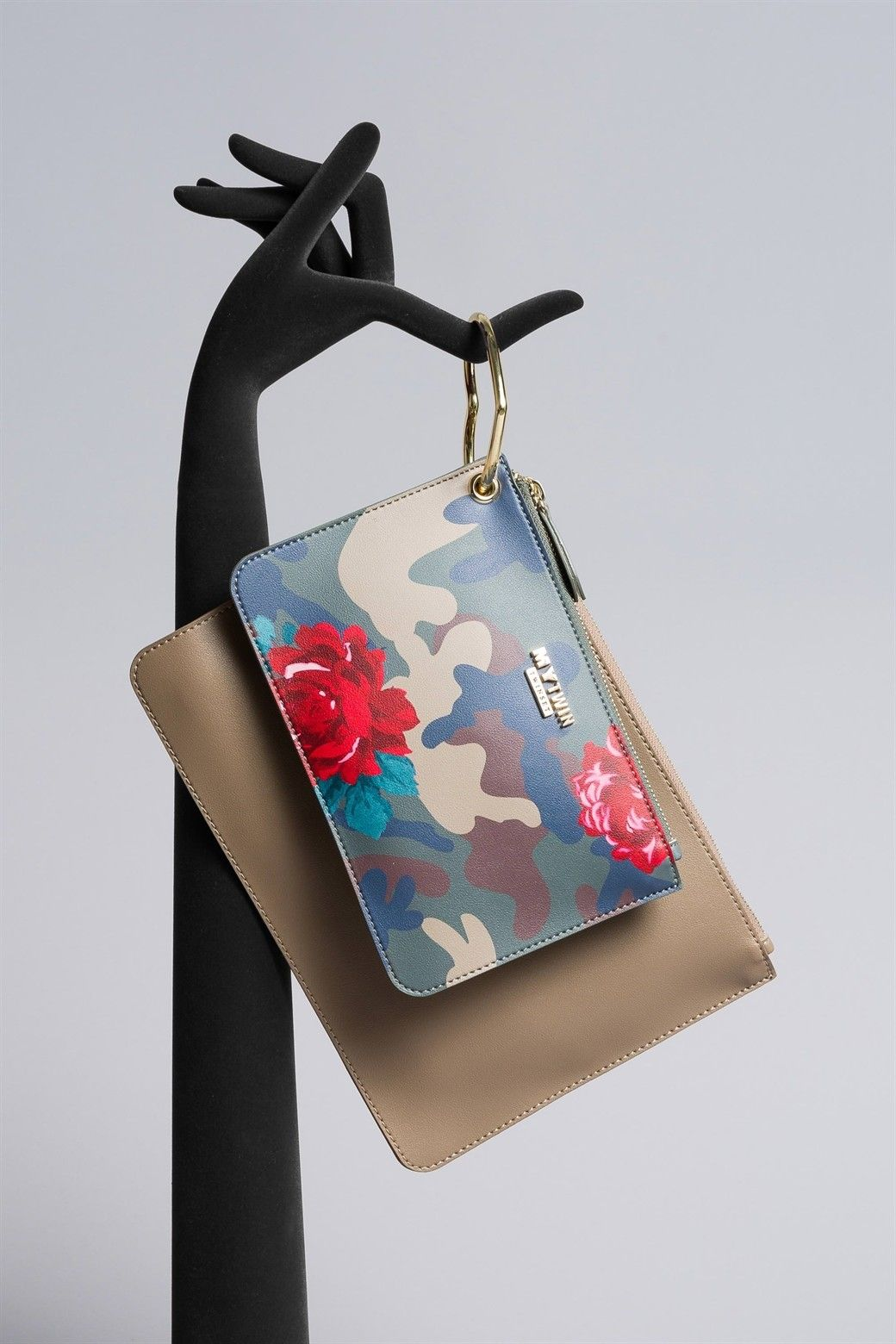 MYTWIN POCHETTE DOPPIA IN SIMILPELLE CAMOUFLAGE