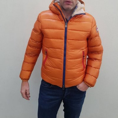 COLMAR PIUMINO LUCIDO ORANGE INTERNO TEDDY ZIP BICOLOR
