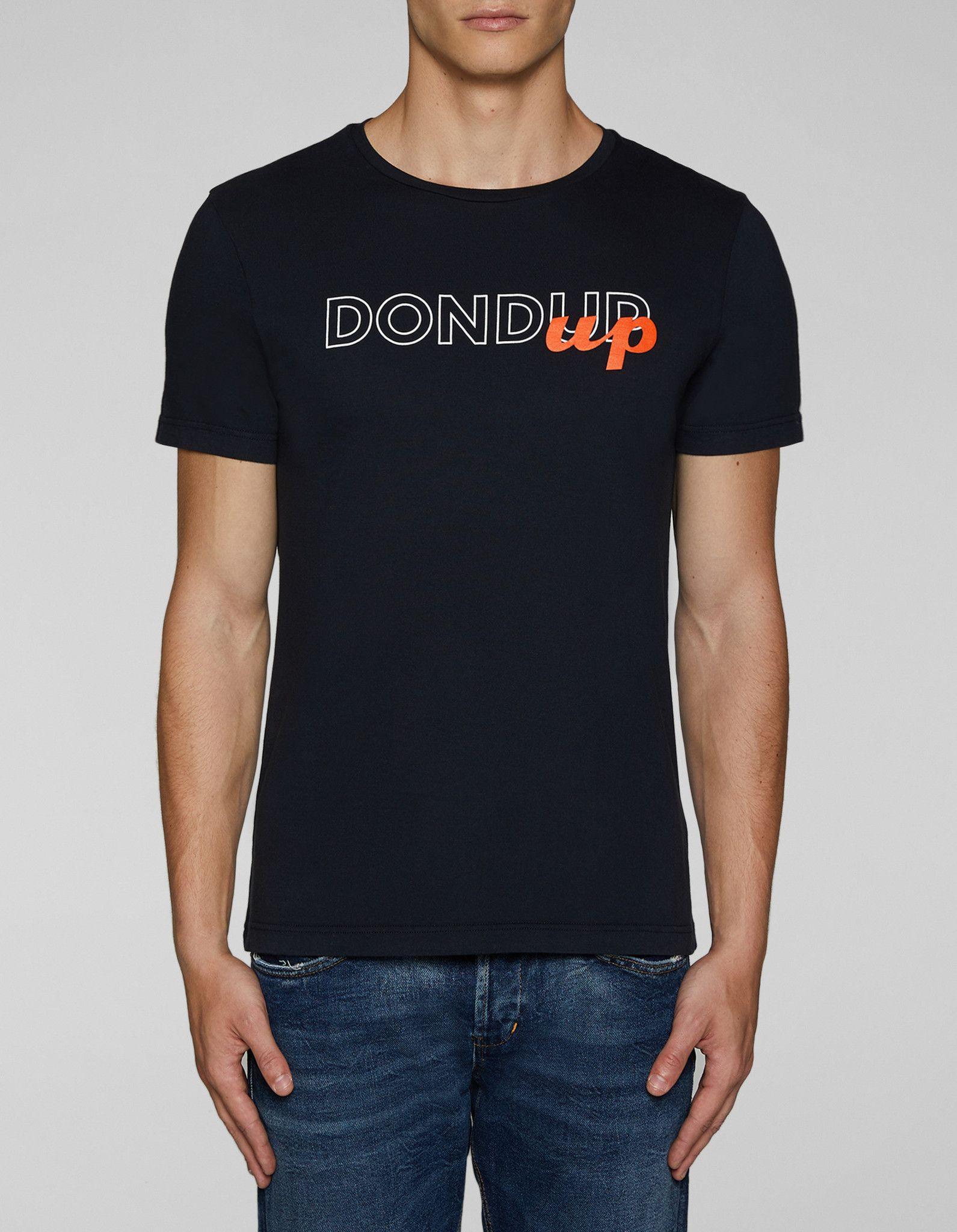 DONDUP T-SHIRT IN COTONE CON LOGO BLU