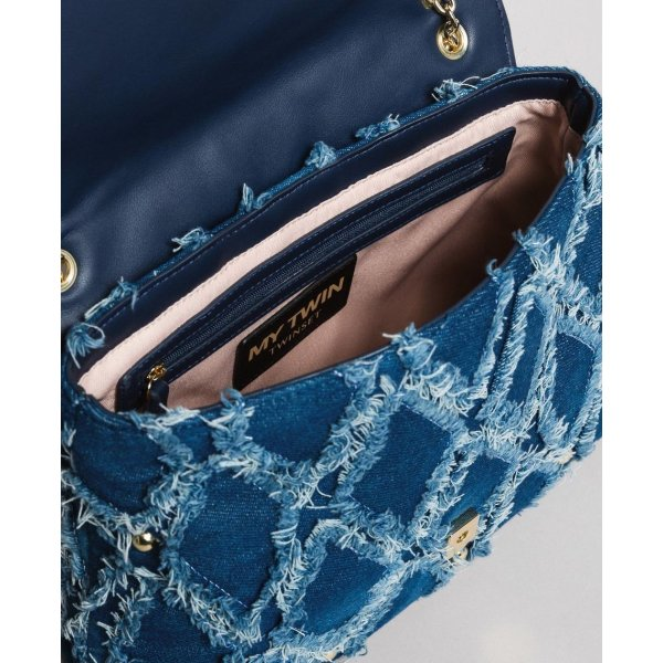 MYTWIN BORSA A TRACOLLA IN JEANS EFFETTO  PATCHWORK
