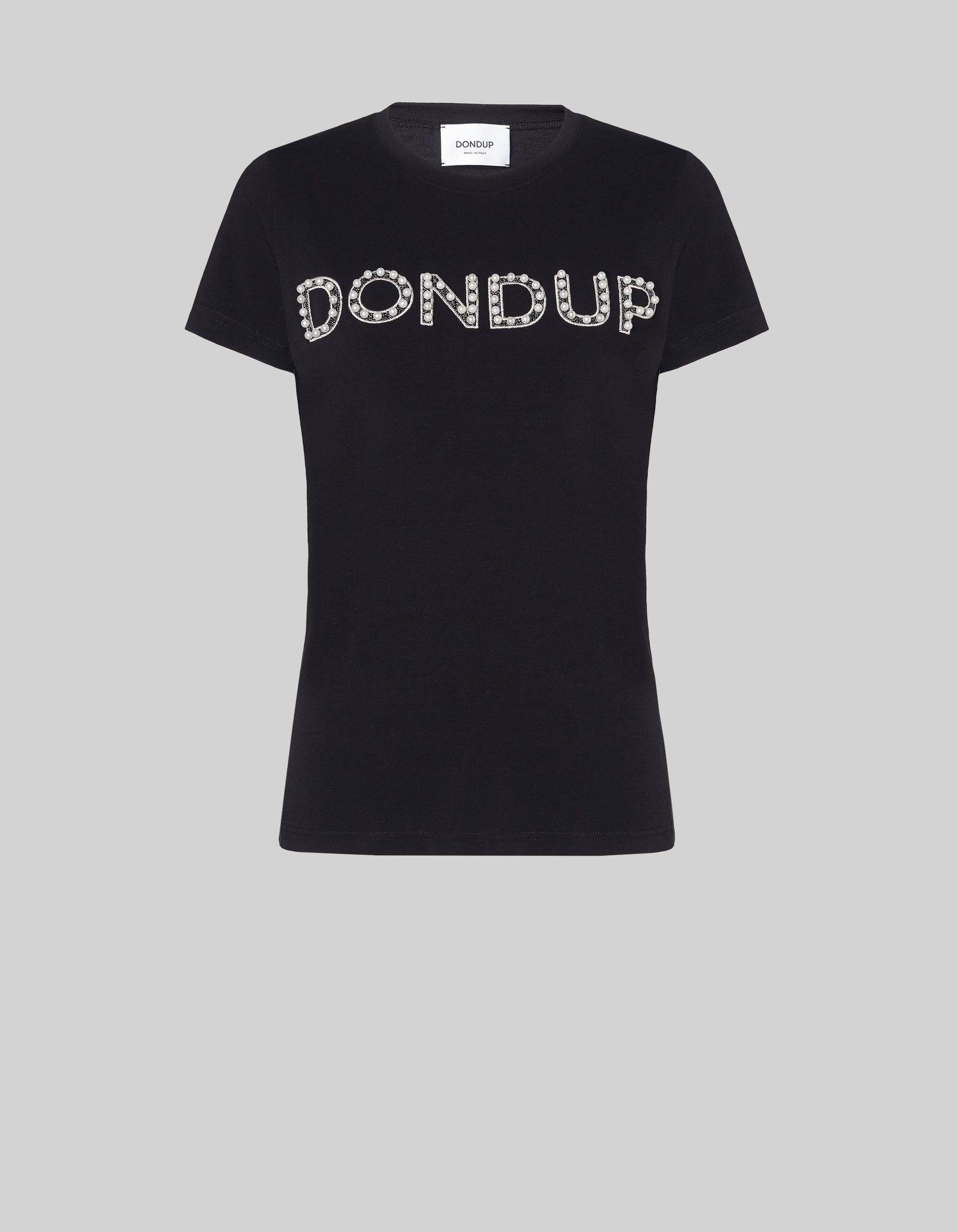 DONDUP T-SHIRT CON PERLE RICAMATE