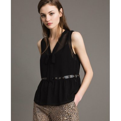 MYTWIN TOP IN GEORGETTE CON SIMILPELLE E ANELLI