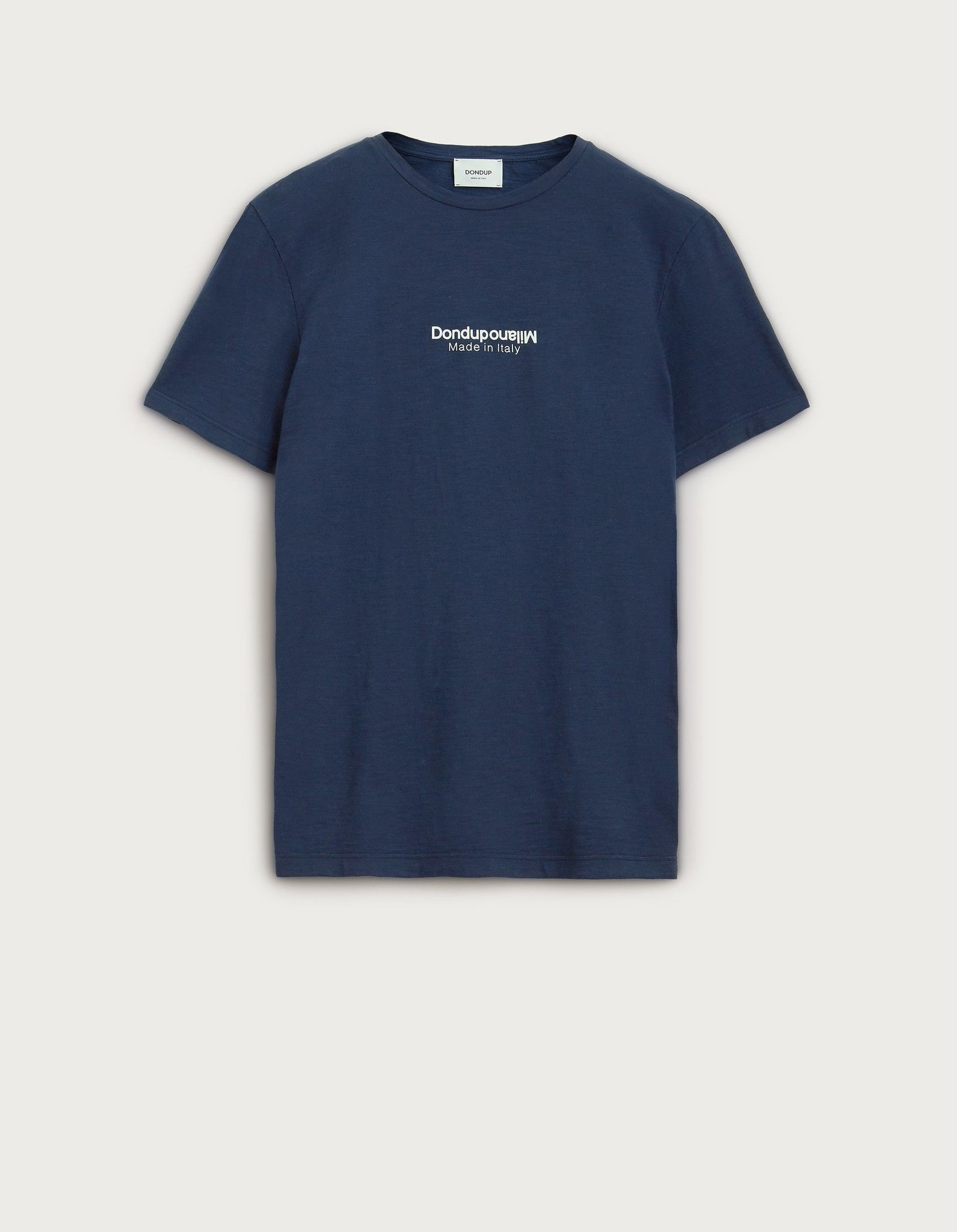 DONDUP T SHIRT BLU IN COTONE CON STAMPA