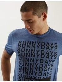 DONDUP T SHIRT LIGHT BLU IN COTONE CON LETTERING