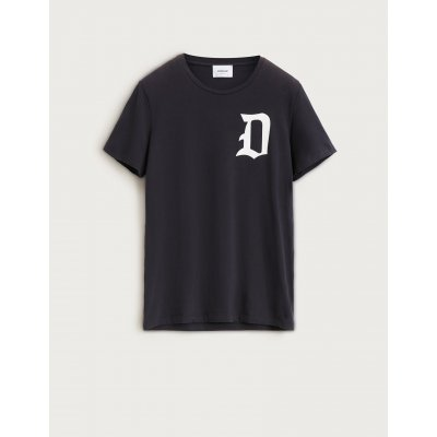 DONDUP T SHIRT NERA IN COTONE CON STAMPA