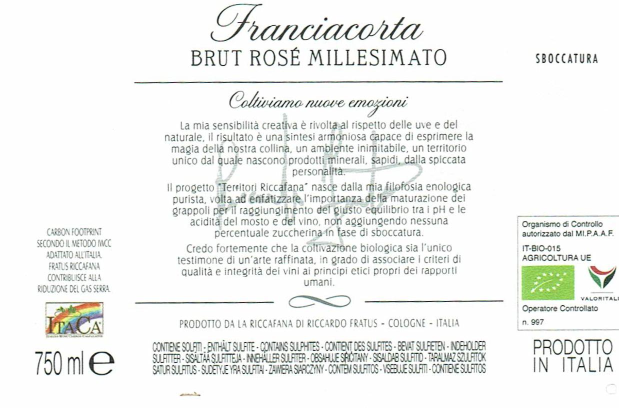 Riccafana Franciacorta DOCG Rosè Brut Millesimato Bio