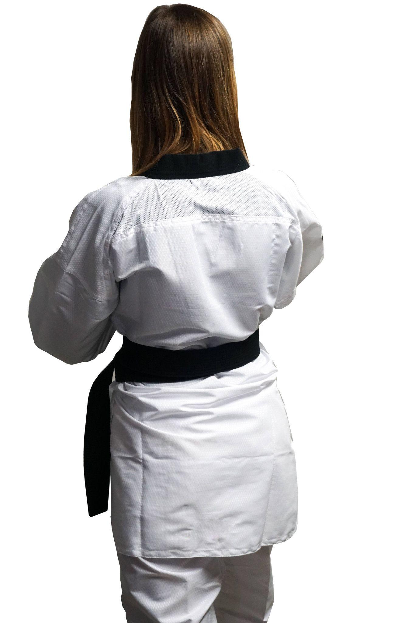 Dobok Ultraleggero per Taekwondo Tusah Easyfit Fighter collo Nero Omologato WT WTF per competizioni ed allenamenti