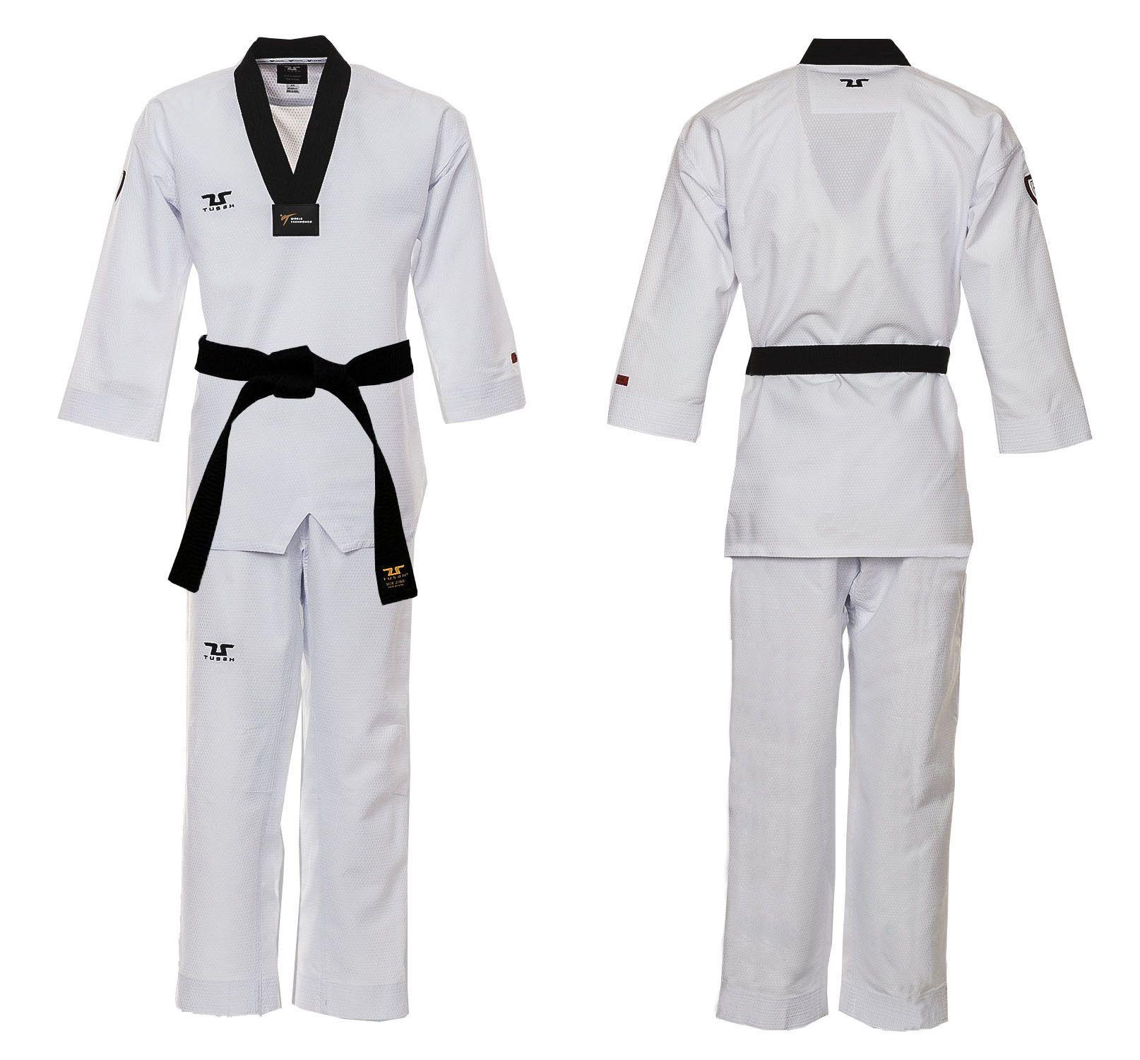 Dobok Ultraleggero per Taekwondo Tusah Premium Fighter collo Nero Omologato WT WTF MADE IN KOREA