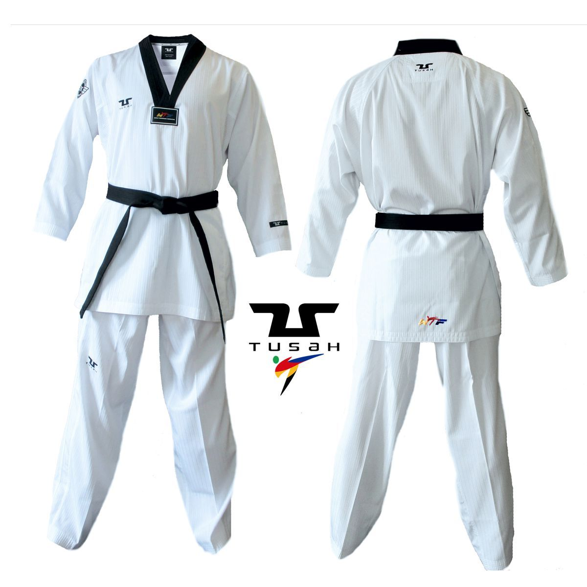 Dobok Ultraleggero per Taekwondo Tusah Premium Fighter collo Nero Omologato WT WTF MADE IN KOREA