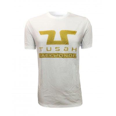 """Tusah - T-shirt """" Tusah Gold """" Bianca 100% cotone"""