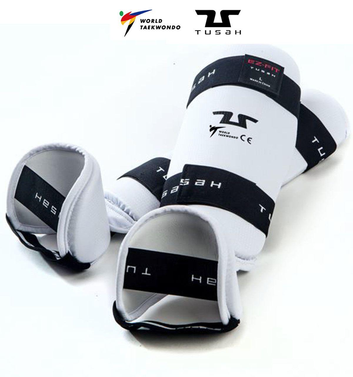 Paratibia con piede Removibile Tusah per Taekwondo Omologato WT WTF Protezione tibia