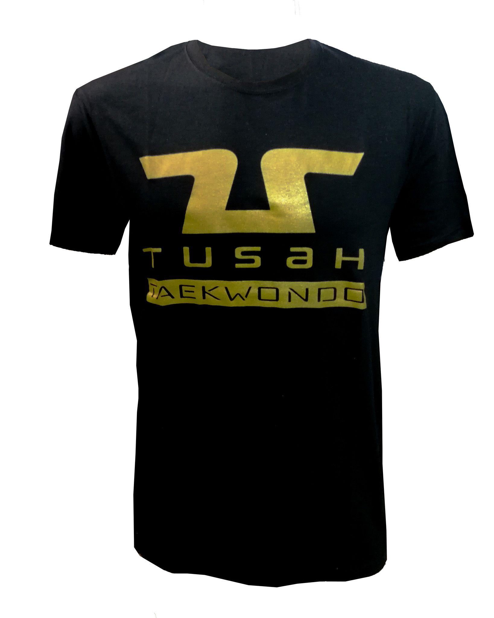 T-Shirt Taekwondo Tusah Gold Nera 100% Cotone WT WTF