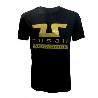 """Tusah - T-shirt """" Tusah Gold """"  Nera 100% cotone"""