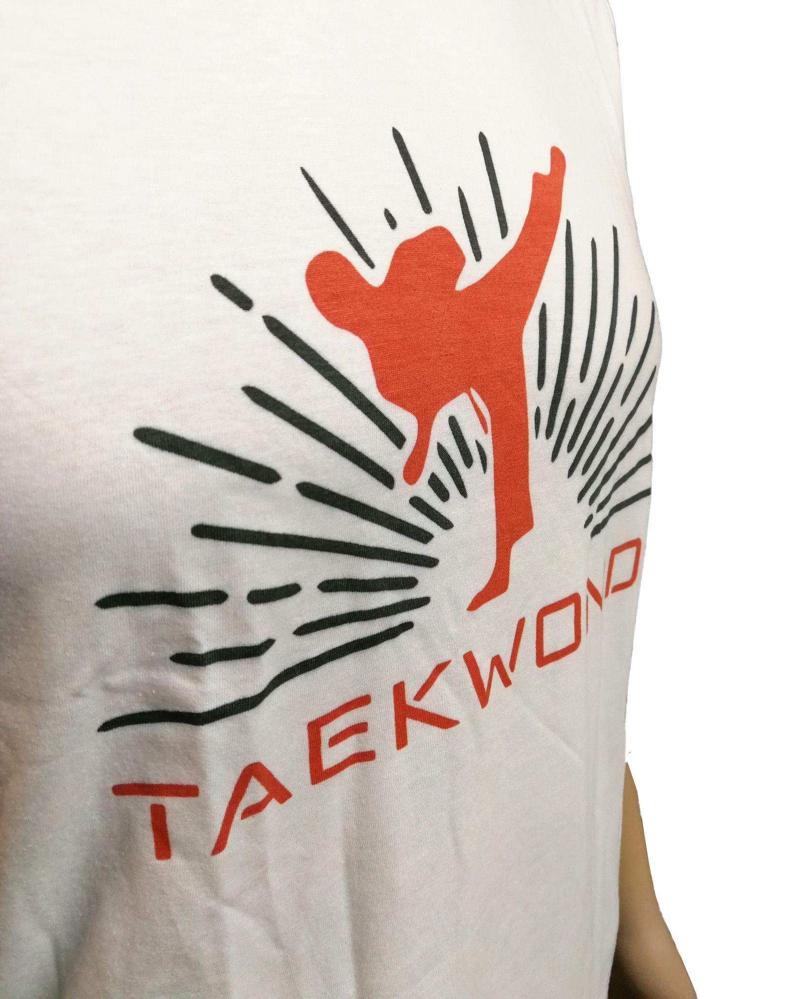 "T-shirt Taekwondo "" Calcio ""  Bianca 100% cotone"