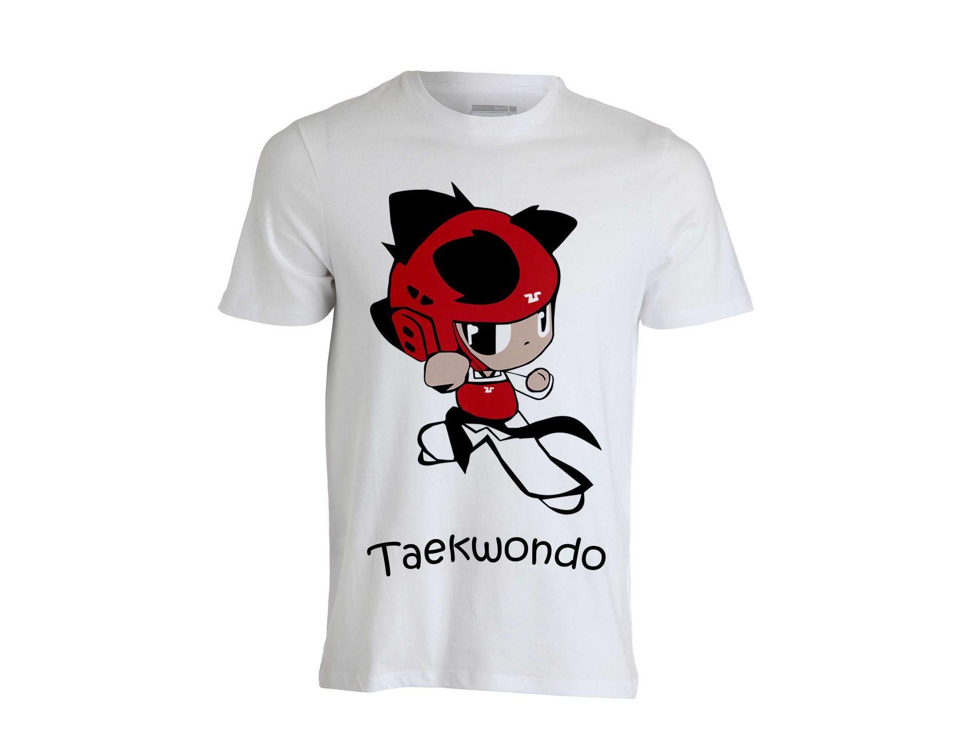 "T-shirt Taekwondo "" KIDS "" Rosso 100% cotone"