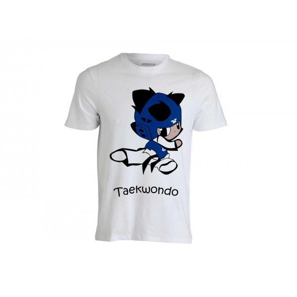 "T-shirt Taekwondo "" KIDS "" Blu 100% cotone"