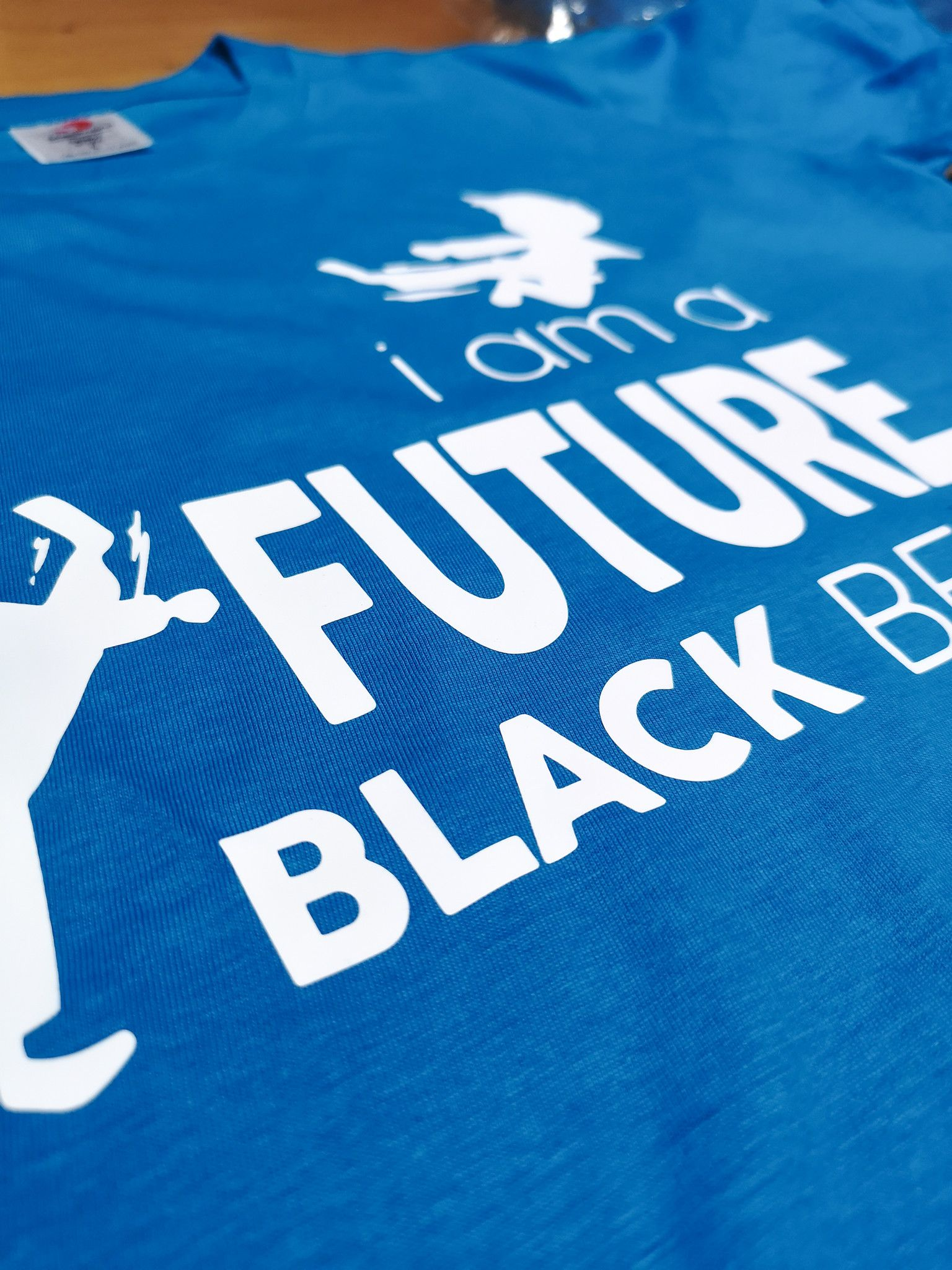T-shirt Taekwondo Karate I am a Future Black Belt azzurra