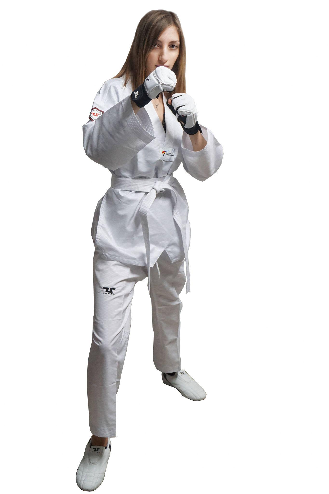 Dobok Ultraleggero per Taekwondo Tusah Easyfit Fighter collo Bianco Omologato WT WTF per competizioni ed allenamenti