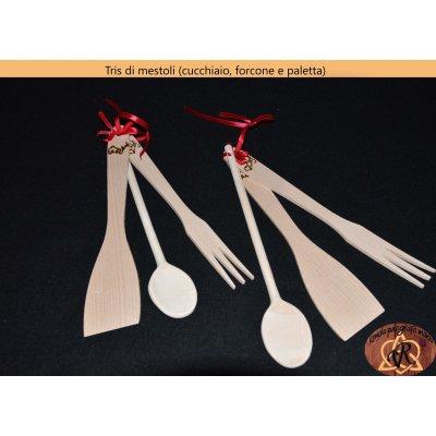 Tris di mestoli (cucchiaio, forcone e paletta)
