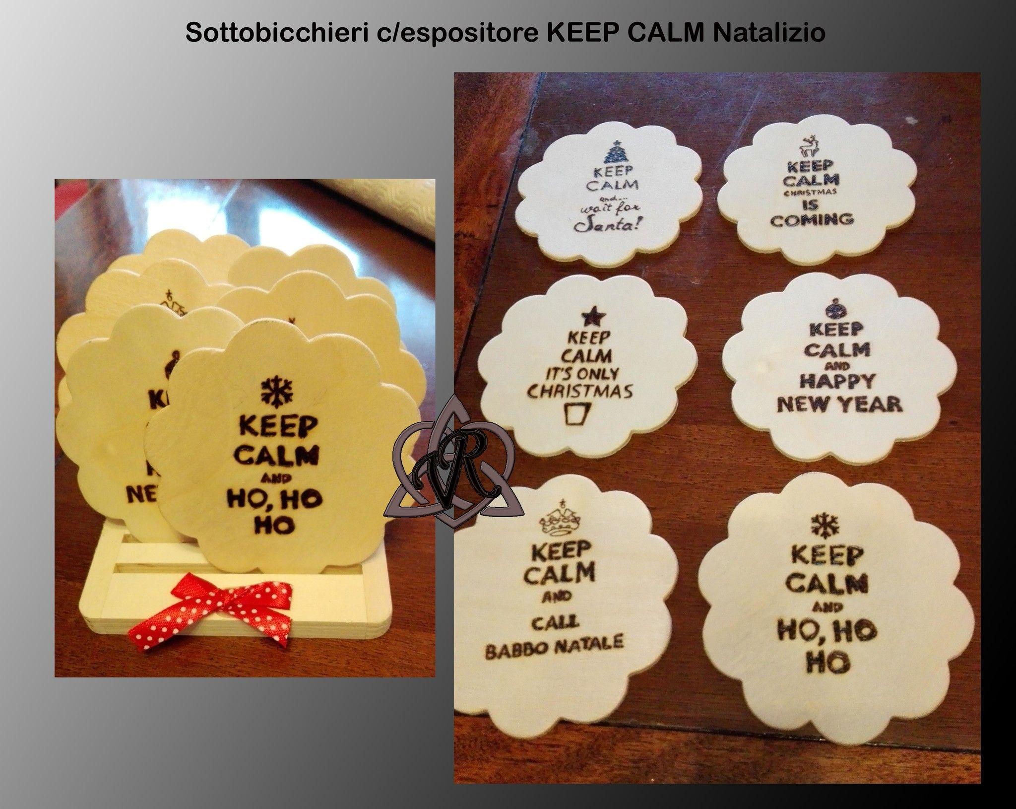 """Set sottobicchieri """"KEEP CALM.."""" c/espositore"""