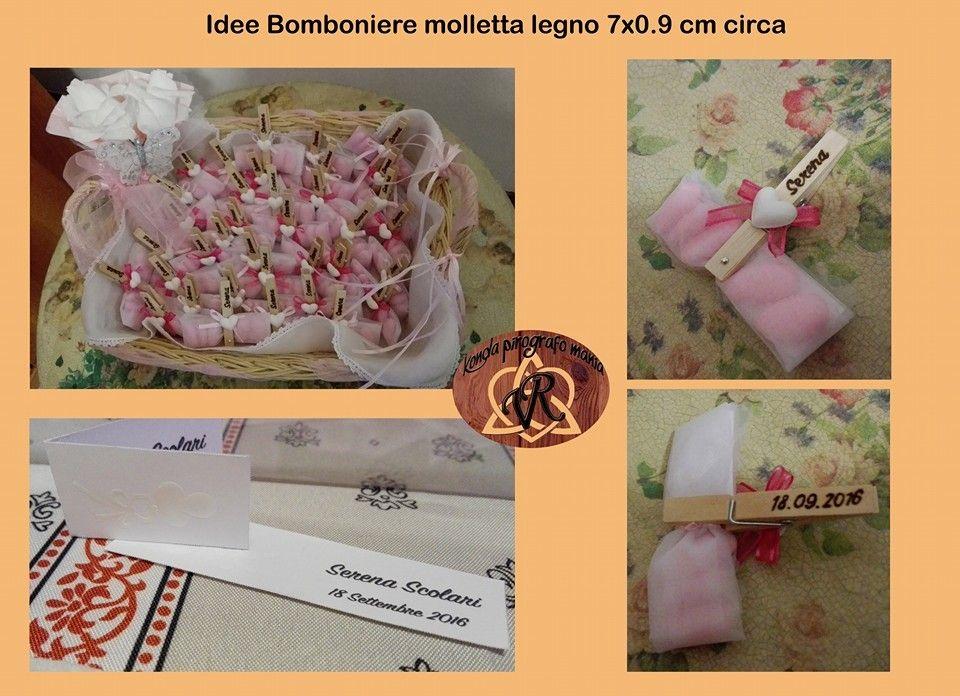 Idea Bomboniera Molletta Legno con Gesso 7x0.09 cm circa