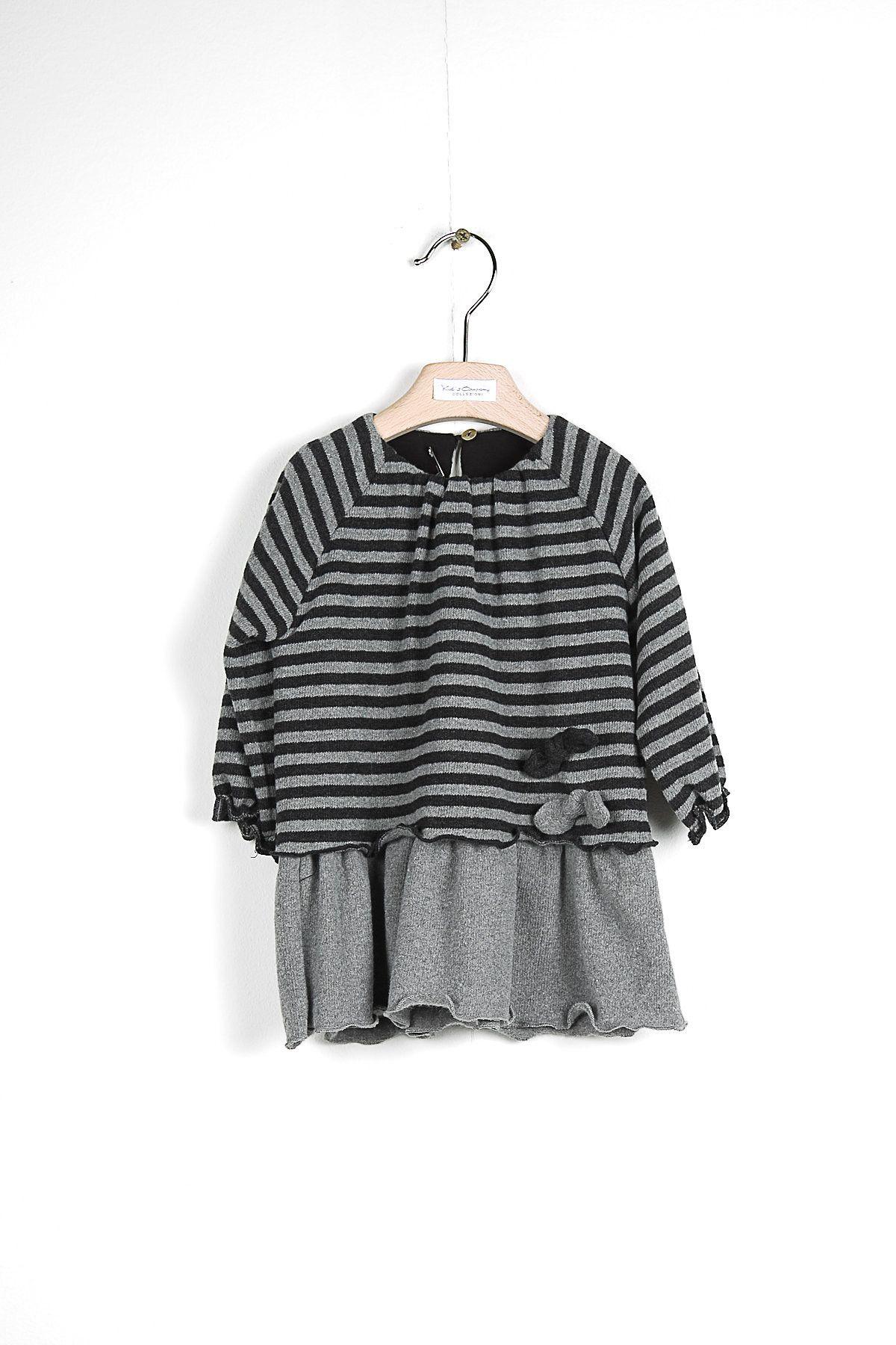 Vestito soft righe antracite fiocchetti KID'S COMPANY 72K1834