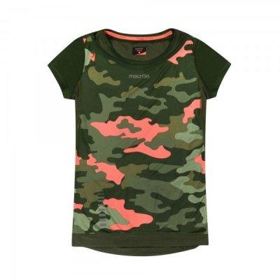 T-Shirt Macron Kona Pro Run Tech SS Donna Col.Verde/Corallo Fluo