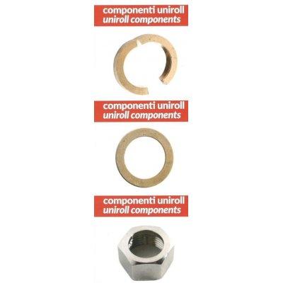 """Componenti per tubo UNIROLL DA 1/2"""": Guancetta in ottone, Anello di tenuta in rame e dado inox"""