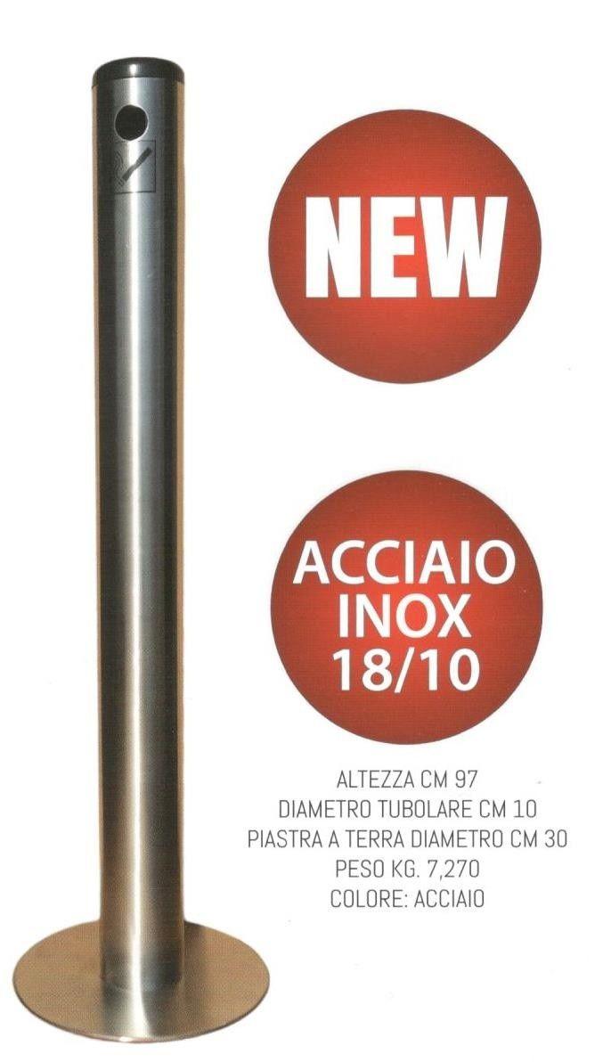 Gettasigarette per esterno da pavimento in acciaio inox