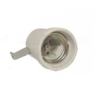 Portalampda in porcellana attacco E27 con staffa metallica