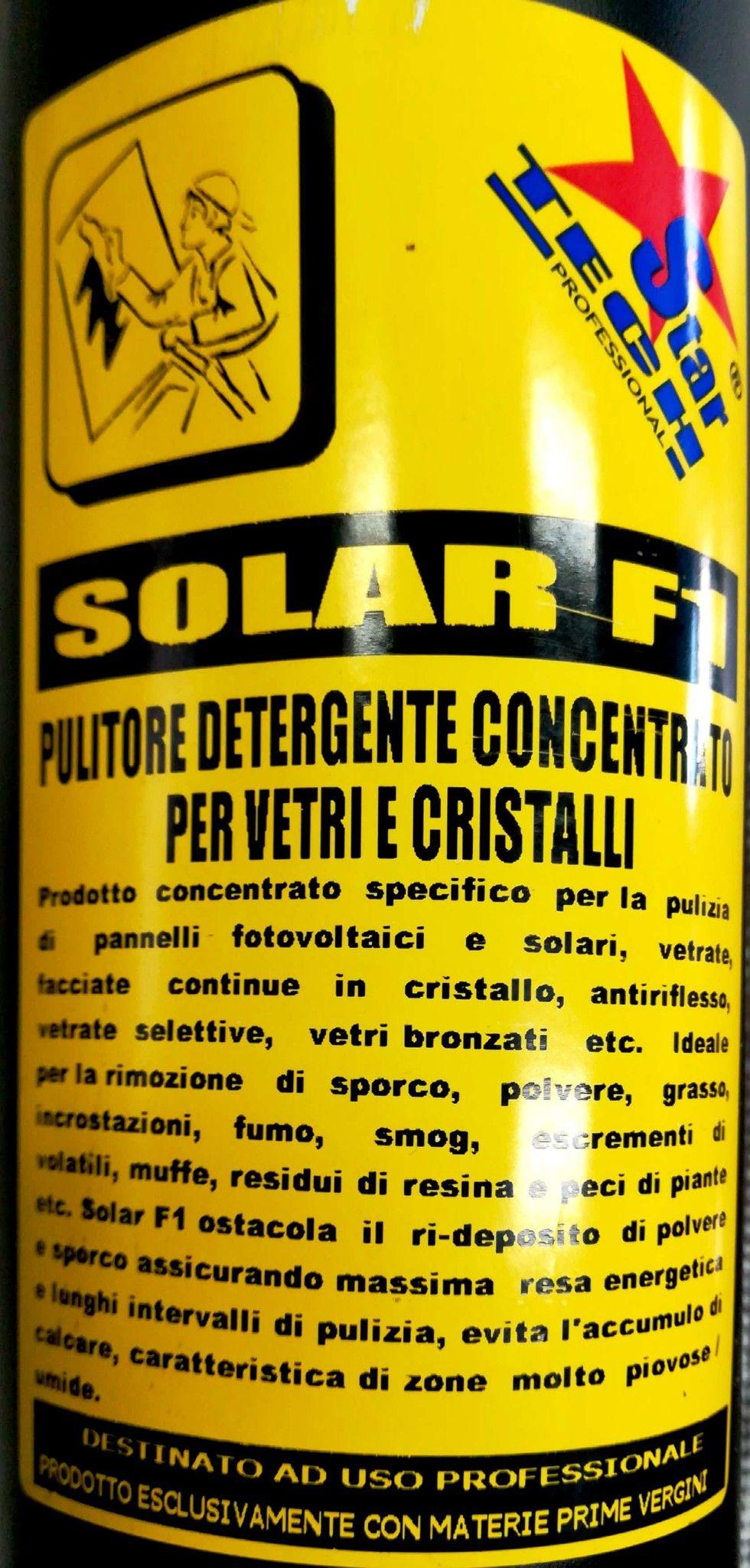 Detergente per pannelli fotovoltaici e solari , vetri e cristalli SOLAR F1 lt 1,0