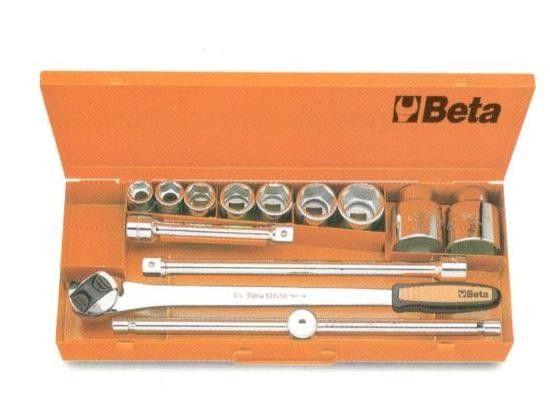 """Set 9 chiavi a bussola 3/4"""" + 4 accessori BETA 928A/C9 in valigetta metallo"""