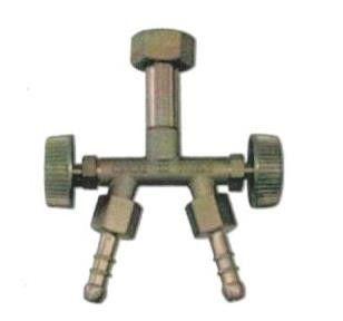 Raccordo a 2 uscite GPL con rubinetto e girello sinistro F 20x14