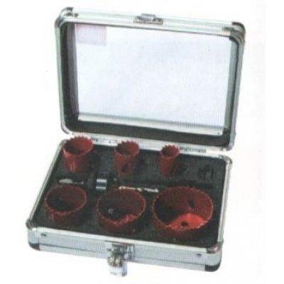 Set 8 pezzi seghe a tazza per elettricisti in valigetta alluminio