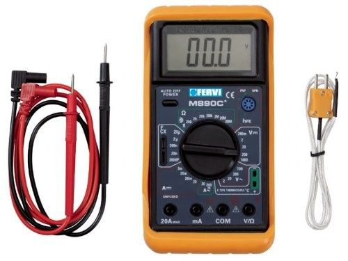 Multimetro Digitale Con Sonda Per Misurazione Temperatura, Continuità Sonora e Controllo Diodi FERVI T050