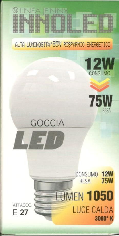 Lampadina LED GOCCIA 12w E27 Luce calda 3000 K