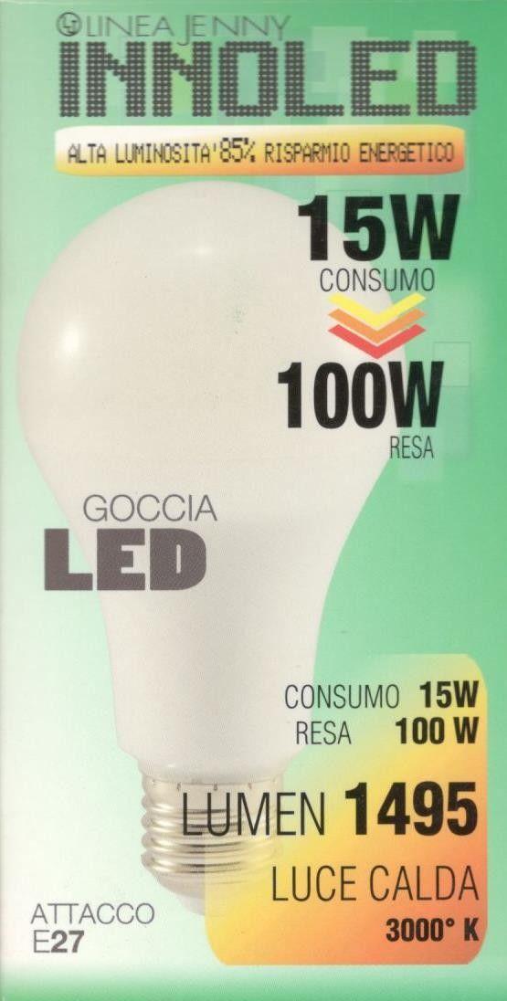 Lampadina LED GOCCIA 15w E27 Luce calda 3000 K