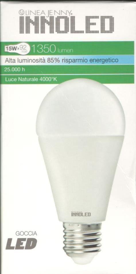 Lampadina LED GOCCIA 15w E27 Luce naturale 4000 K