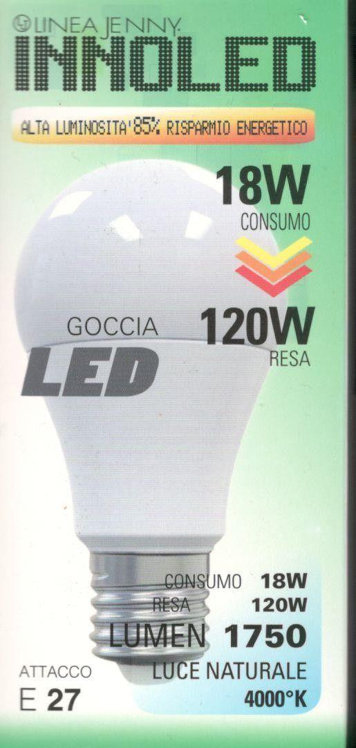 Lampadina LED GOCCIA 18w E27 Luce naturale 4000 K