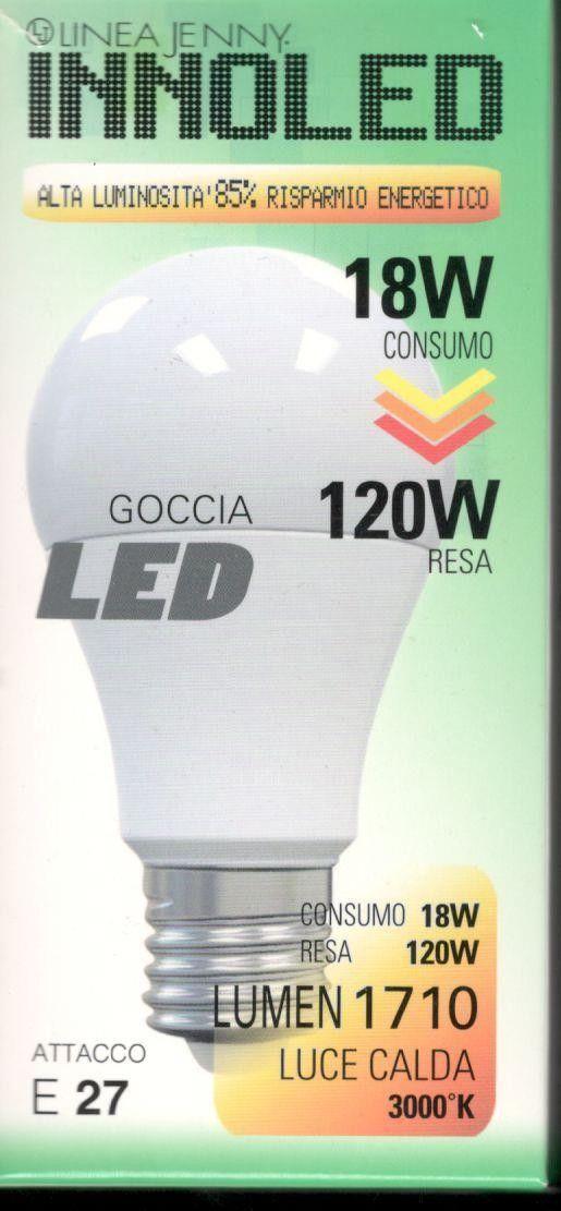 Lampadina LED GOCCIA 18w E27 Luce calda 3000 K