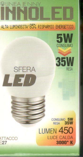 Lampadina LED SFERA 5w E27 Luce calda 3000 K