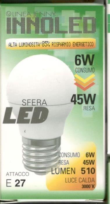 Lampadina LED SFERA 6w E27 Luce calda 3000 K