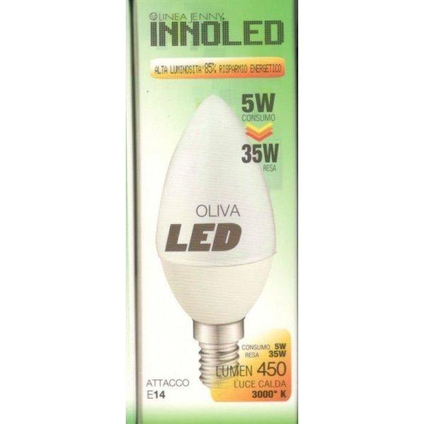 Lampadina LED OLIVA 5w E14 Luce calda 3000 K
