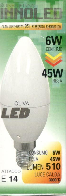 Lampadina LED OLIVA 6w E14 Luce calda 3000 K