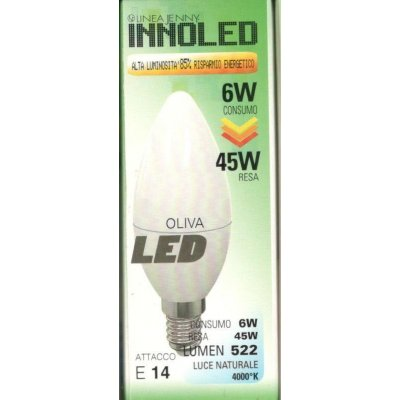 Lampadina LED OLIVA 6w E14 Luce naturale 4000 K