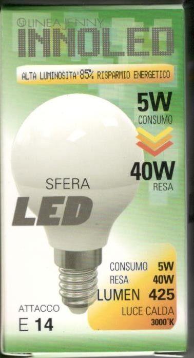 Lampadina LED SFERA 5w E14 Luce calda 3000 K