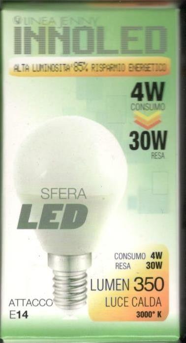 Lampadina LED SFERA 4w E14 Luce calda 3000 K
