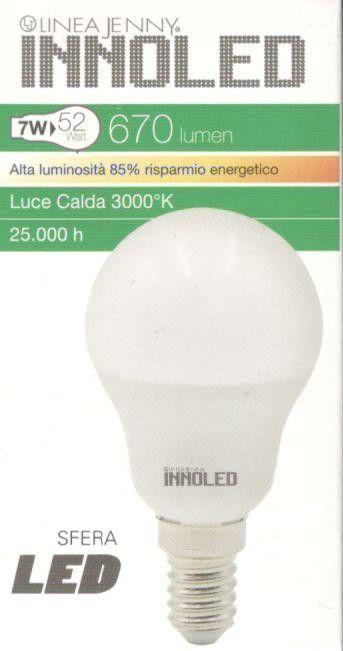 Lampadina LED SFERA 7w E14 Luce calda 3000 K