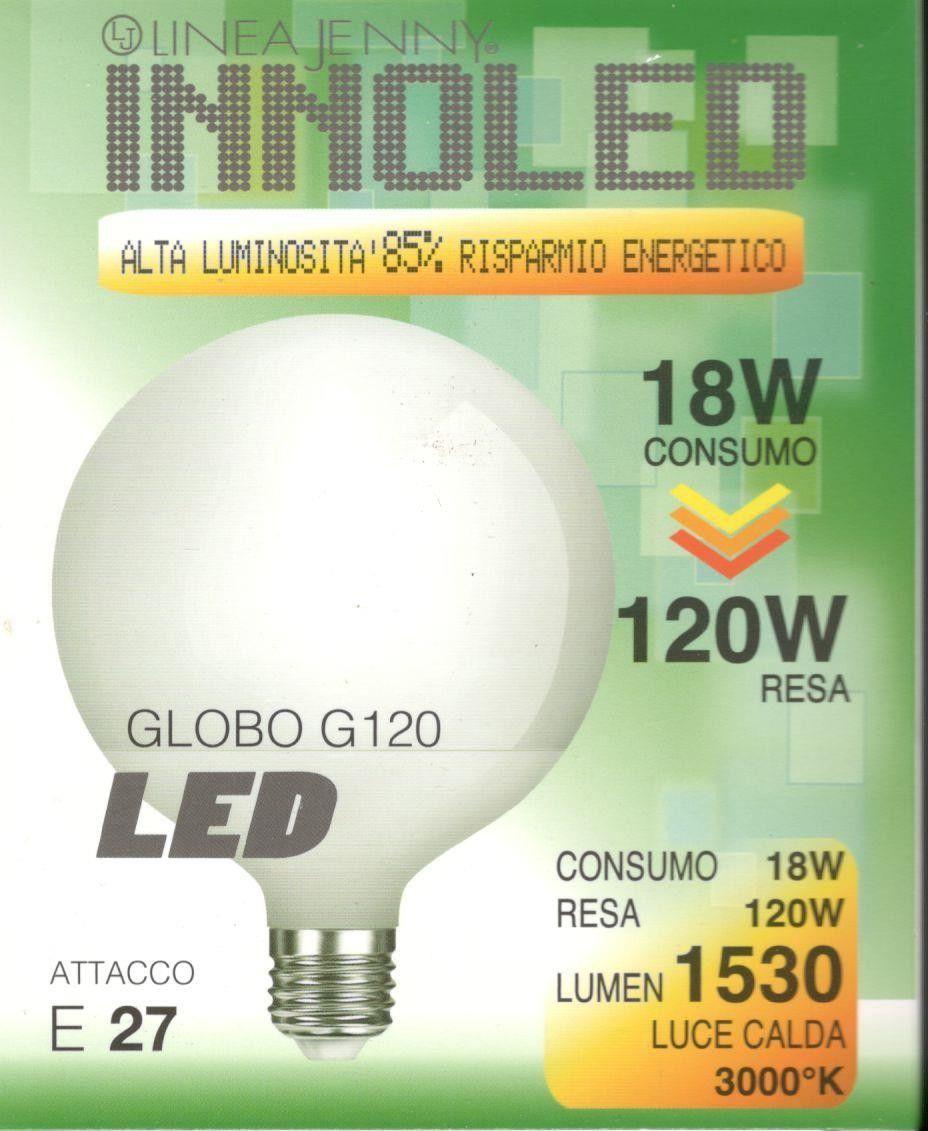 Lampadina LED GLOBO 18w E27 Luce calda 3000 K