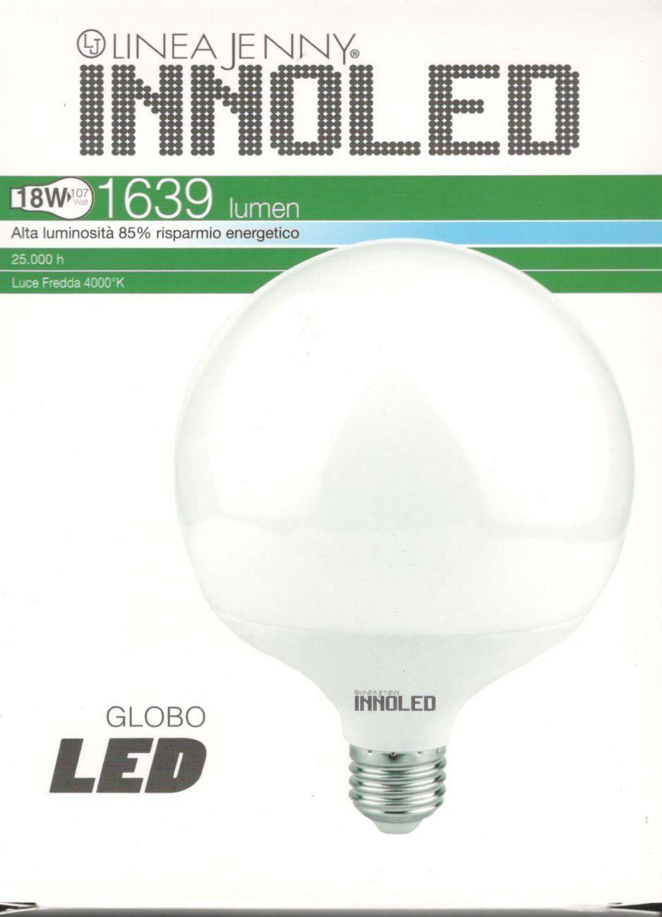 Lampadina LED GLOBO 18w E27 Luce naturale 4000 K